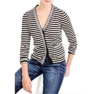 J Crew Stripe Harlow Cardigan Sweater